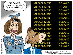 Impeachment Delayed - Pelosi by Bob Englehart