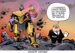 Barr and Thanos by Nate Beeler