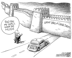 Tariff wall by Adam Zyglis