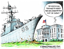 White House and USS John McCain by Dave Granlund