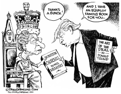 Queen Elizabeth gift to Trump by Dave Granlund