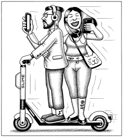 Electric Scooter Couple by Andy Singer