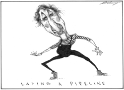 Justin Trudeau Mimes A Pipeline by Dale Cummings