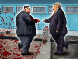 Trump Kim Jong Un North Korea DMZ by Sean Delonas