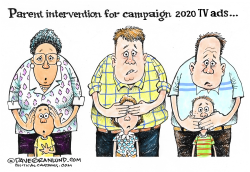 Parents and Campaign 2020 TV by Dave Granlund