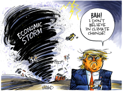 Trump Economic Storm by Dave Whamond