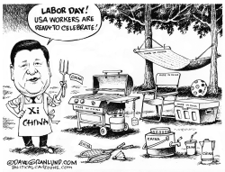 Labor Day and China made by Dave Granlund