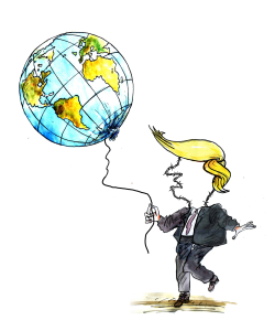 Barbed Wire Trump and Balloon World by Pavel Constantin