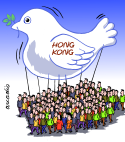 Honk Kong claims for freedom by Arcadio Esquivel