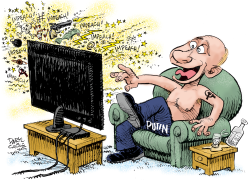 Putin Enjoys Impeachment Rancor by Daryl Cagle