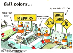 Fall colors and road repairs by Dave Granlund