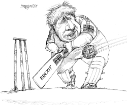 Boris Johnson ascricket player by Petar Pismestrovic
