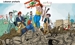 Liberty leads in Beirut protests by Emad Hajjaj