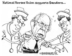 Bernie 2020 and Nurses Union by Dave Granlund