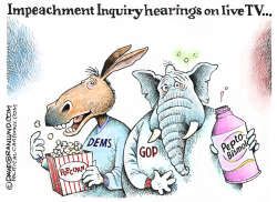 Impeachment hearings on TV by Dave Granlund