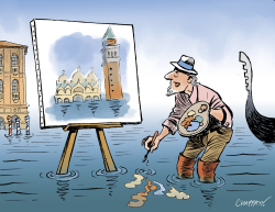 Acqua alta in Venice by Patrick Chappatte