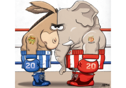 Impeachment Fight Staredown by R.J. Matson