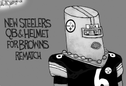 New Browns vs Steelers Helmet by Jeff Darcy