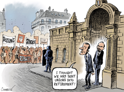 Pension reform protests in France by Patrick Chappatte