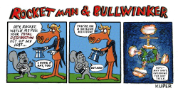Rocketman and Bullwinker by Peter Kuper