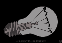 Democracy dies in darkness by NEMØ