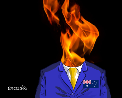 Man and Fire in Australia by Arcadio Esquivel