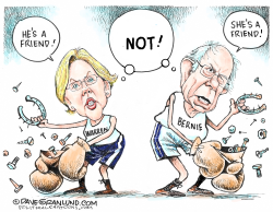 Warren vs Bernie by Dave Granlund