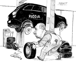 Putin's new tyres by Petar Pismestrovic