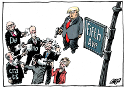 Democrats and Trump on 5th Avenue by Jos Collignon