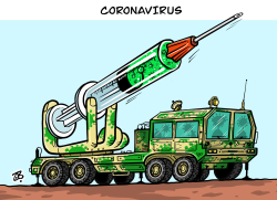 Corona war by Emad Hajjaj