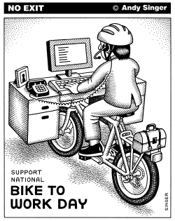 National Bike to Work Day and Week by Andy Singer
