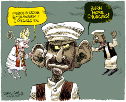Pope In Muslim Ear  by Daryl Cagle
