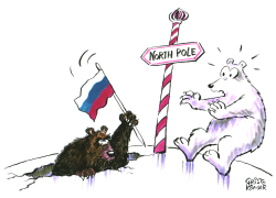 Russia's flag-planting at the North Pole -  by Christo Komarnitski