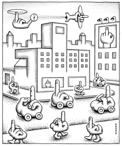 Everyone flips Off Everyone Else black by Andy Singer