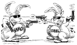 Israel vs Hamas Bunnies by Daryl Cagle