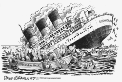 Sinking economy and few lifeboats by Dave Granlund