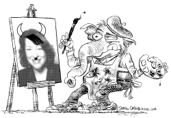 GOP Paints Sotomayor Picture Lineart by Daryl Cagle