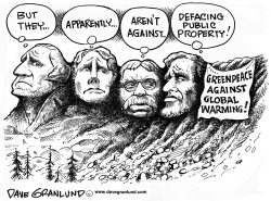 Greenpeace at Mt Rushmore by Dave Granlund