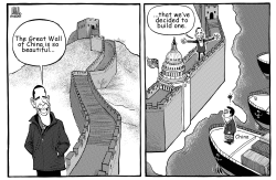 Obama builds Great Wall by Luojie