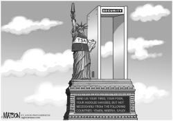 Statue Of Liberty Security Checkpoint by RJ Matson