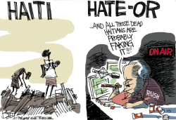 Limbaugh Hating Haiti  by Pat Bagley