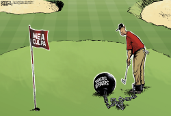 Tiger Woods Putts  by Nate Beeler
