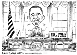 Obama desk and BP spill by Dave Granlund