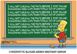 Conservative Blogger Andrew Breitbart Simpson-  by RJ Matson