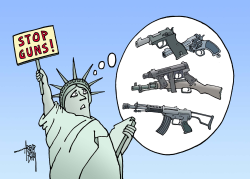 Statue of Liberty threatened by guns by Arend Van Dam