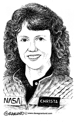 Christa McAuliffe illustration by Dave Granlund