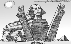 Mubarak Resigns by Mike Keefe