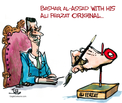 Ali Ferzat vs Bashar al-Assad by Jiho