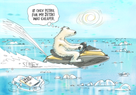 Polar Bear On A JetSki by Chris Slane