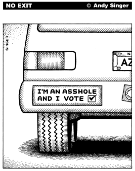 I Vote Bumpersticker by Andy Singer